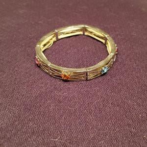 Gemstone silver stretchy bracelet